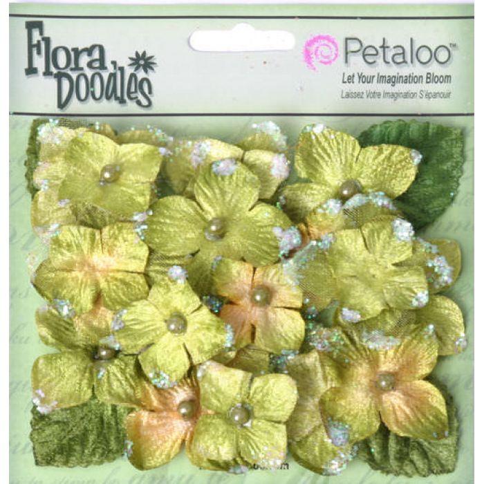 Набор цветов Бархатные Гортензии зеленые для скрапбукинга