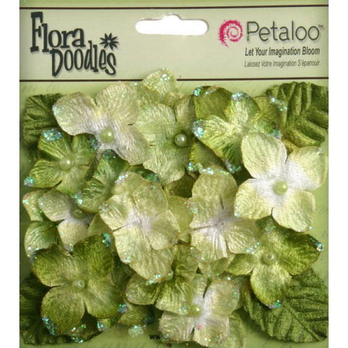 Набор цветов Бархатные Гортензии светло-зеленые для скрапбукинга