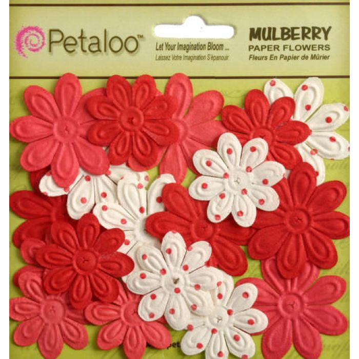 Набор цветов Мини ромашки с тиснением красные для скрапбукинга