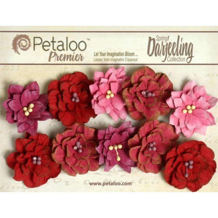 Набор цветов Георгины красно-малиновые для скрапбукинга