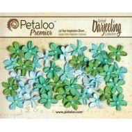 Набор цветов Маленькие ромашки с жемчужиной зеленые/голубые