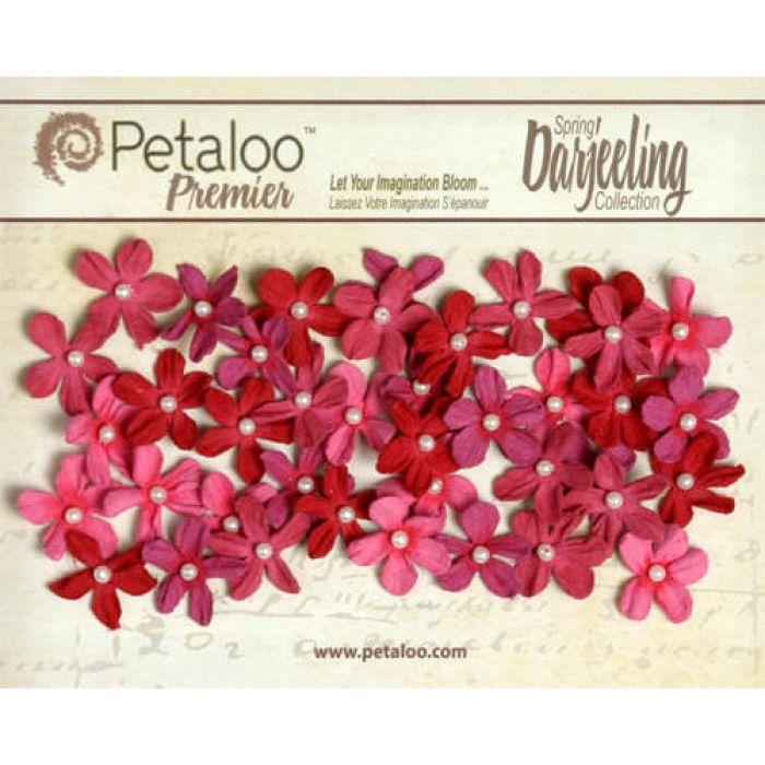 Набор цветов Маленькие ромашки с жемчужиной красные для скрапбукинга