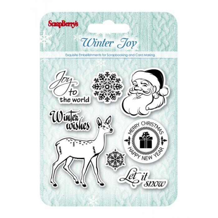 Набор штампов Зимнее утро. Рождественский олень, анг. для скрапбукинга