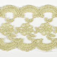 Кружево на сетке бело-золотое, 70 мм