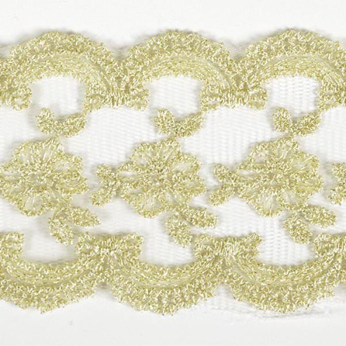 Кружево на сетке бело-золотое, 70 мм для скрапбукинга