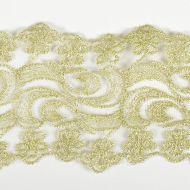 Кружево на сетке бело-золотое, 65 мм