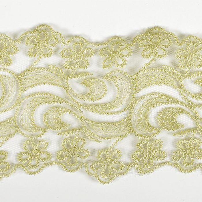 Кружево на сетке бело-золотое, 65 мм для скрапбукинга