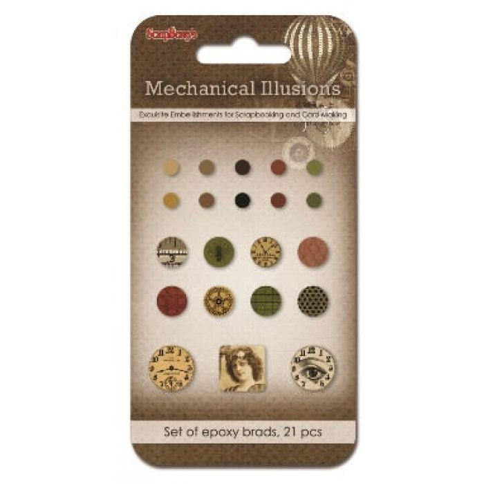 Набор брадсов, коллекция Механические иллюзии 21 шт для скрапбукинга