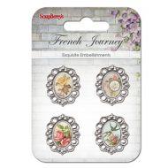 Набор украшений с металлическими рамочками Ласточки и цветы