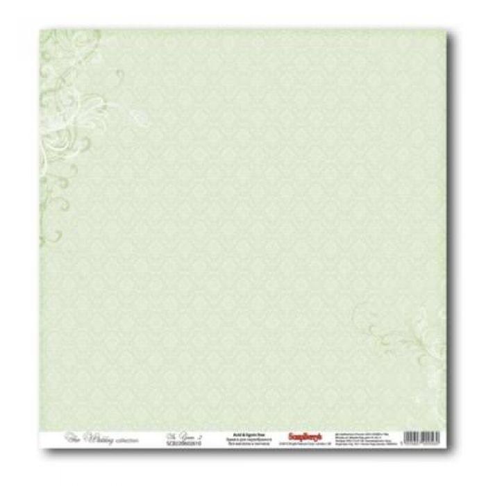 Бумага Нежно-зеленый 2, коллекция Свадебная для скрапбукинга