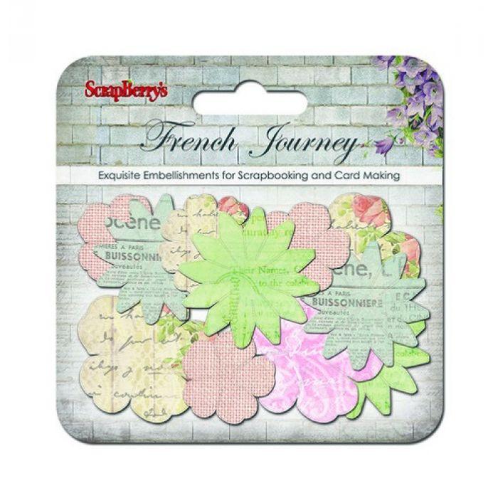Набор бумажных цветочков Французское путешествие для скрапбукинга