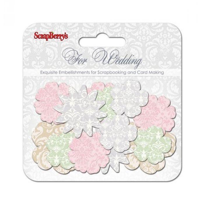 Набор бумажных цветочков СВАДЬБА для скрапбукинга