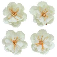 Набор декоративных цветков, бежевые, 5см