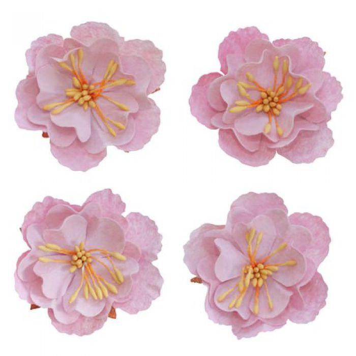 Набор декоративных цветков, нежно-розовый, 5см для скрапбукинга