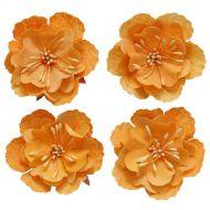 Набор декоративных цветков, нежно-оранжевый, 5 см