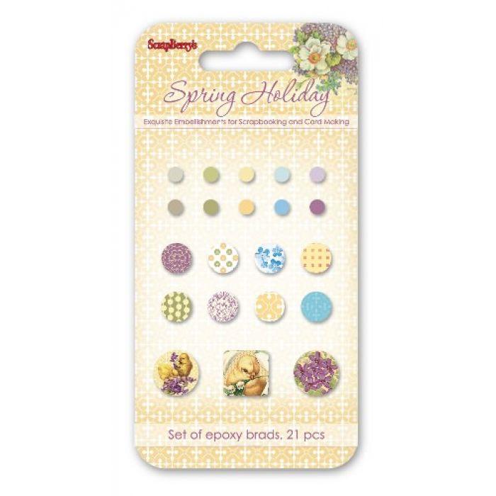 Набор брадсов, коллекция Весенний праздник 21 шт для скрапбукинга