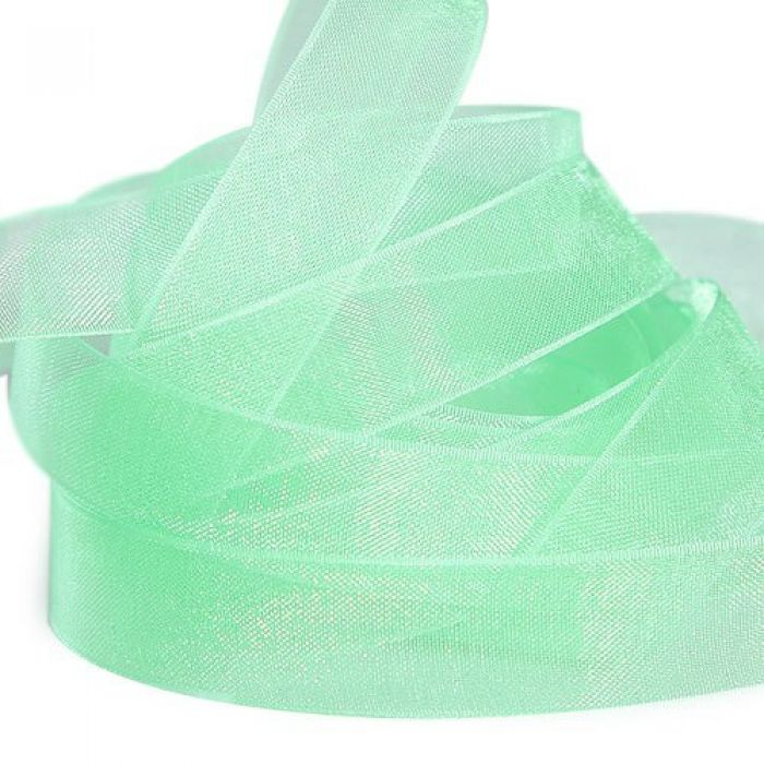 Лента из органзы, зеленая для скрапбукинга
