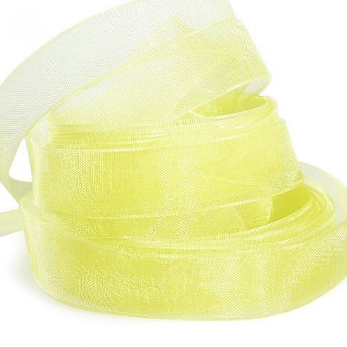 Лента из органзы, желтая для скрапбукинга