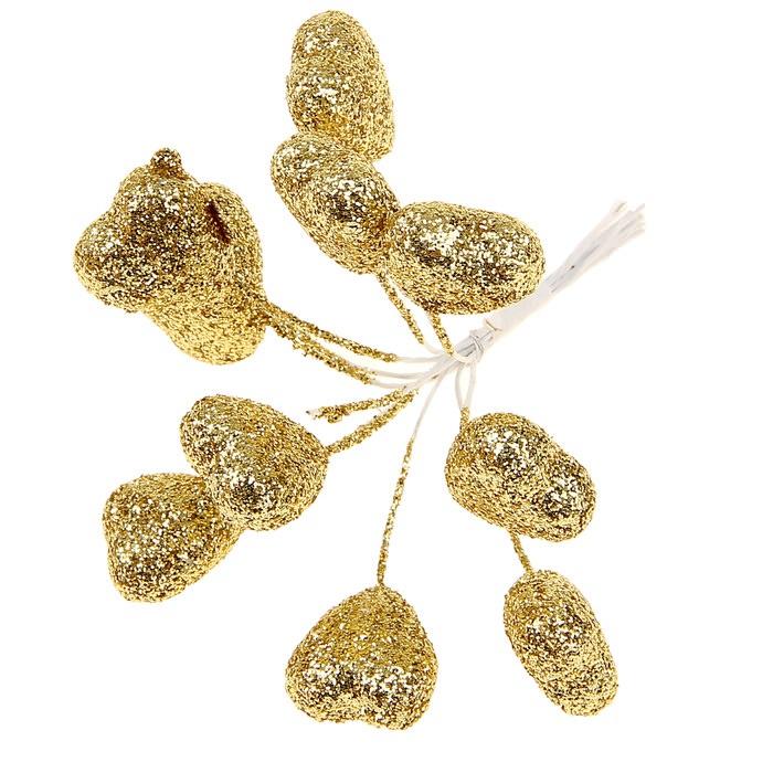 Сердечки золотые в глиттере для скрапбукинга