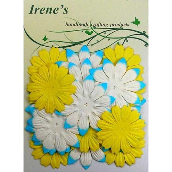 Набор цветов, желто-бело-голубые для скрапбукинга