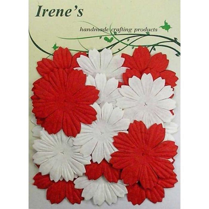 Набор цветов, белые и красные для скрапбукинга