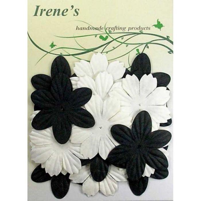 Набор цветов, белые и черные для скрапбукинга