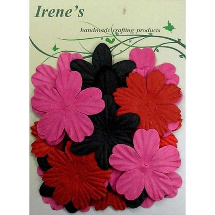Набор цветов, черные, красные и розовые для скрапбукинга