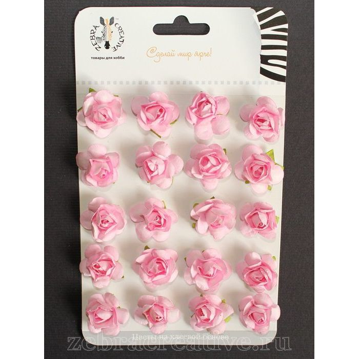 Набор розовых розочек 15 мм для скрапбукинга