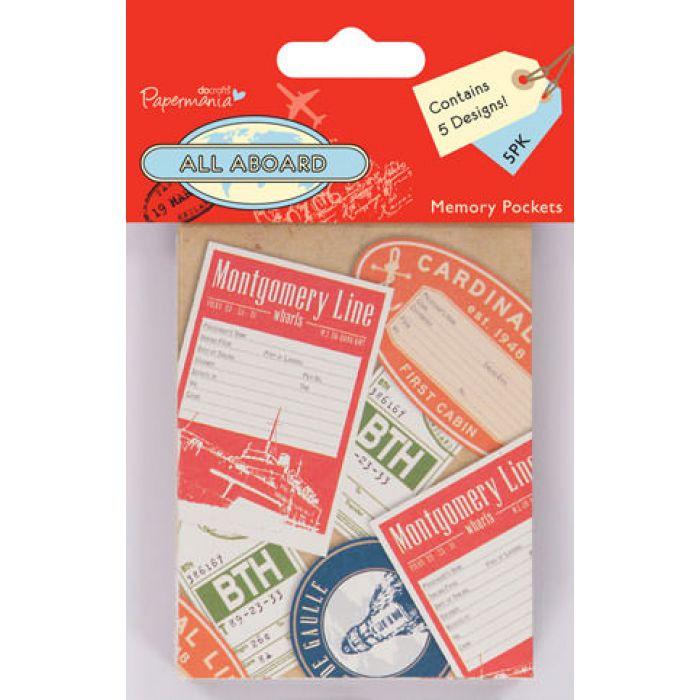 Набор декоративных мини конвертиков All Aboard для скрапбукинга