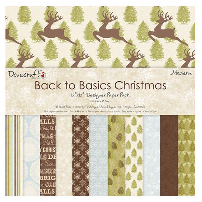Набор бумаги Back To Basics Christmas, 30 х 30 см для скрапбукинга