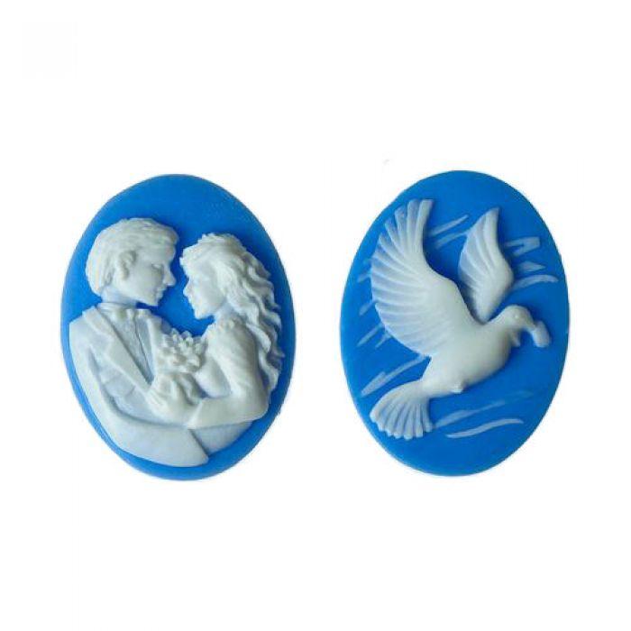 Набор камей свадебный голубой для скрапбукинга