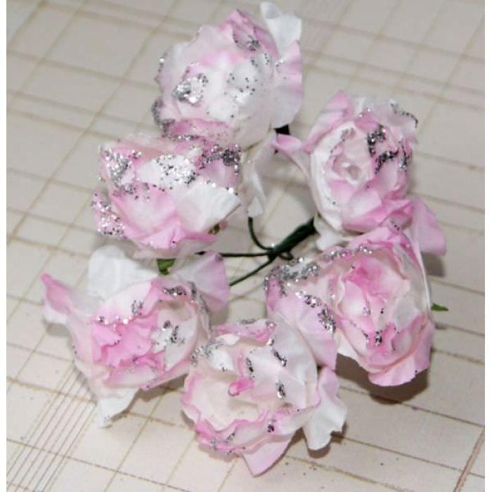 Пион с глиттером, цвет - бело-светло-розовый для скрапбукинга