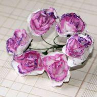 Роза с глиттером, цвет - бело-лиловый