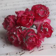 Роза с глиттером, цвет - розово-белый