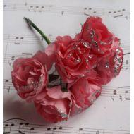 Роза с глиттером, цвет - нежно-розовый