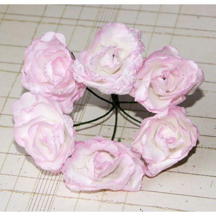 Роза с глиттером, цвет - бело-светло-розовый для скрапбукинга