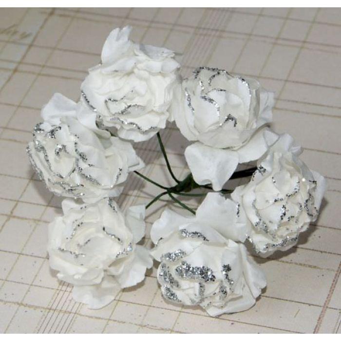 Пион с глиттером, цвет - белый для скрапбукинга
