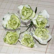 Роза с глиттером, цвет - бело-зеленый