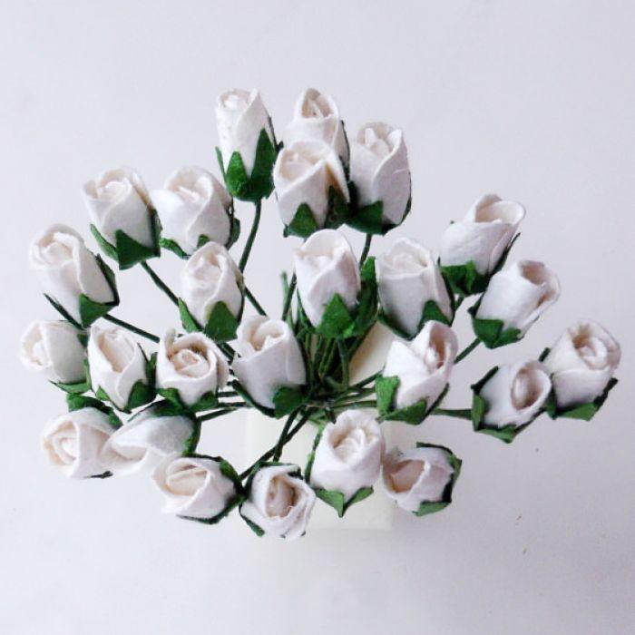 Роза с закрытым бутоном, цвет белый для скрапбукинга