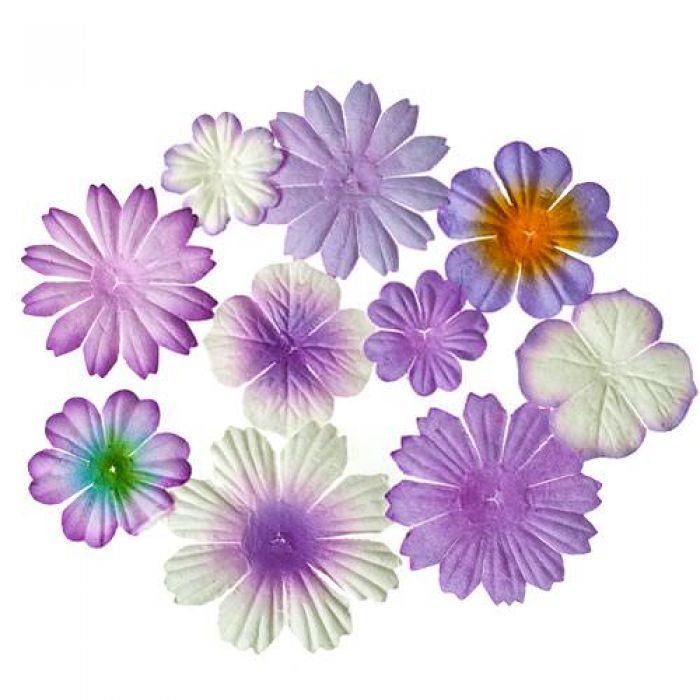 Набор цветочков из шелковичной бумаги Сиреневые для скрапбукинга