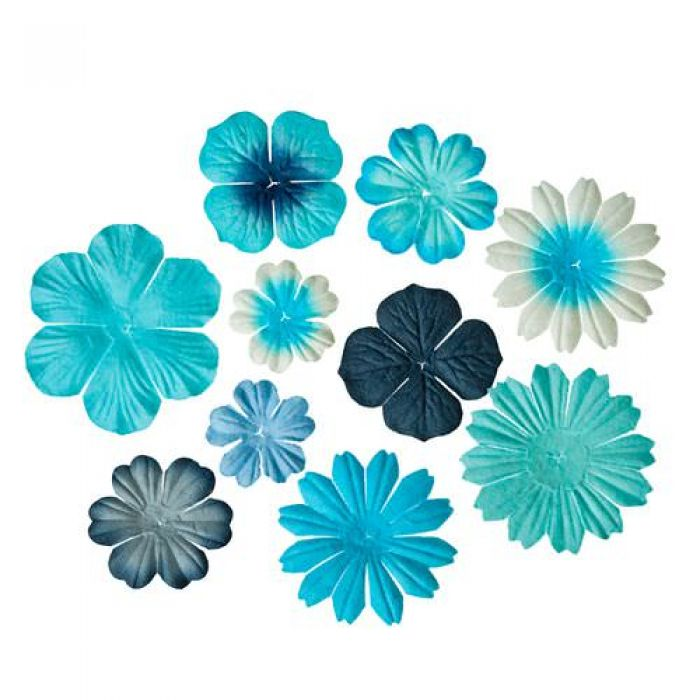 Набор цветочков из шелковичной бумаги Светло голубые для скрапбукинга