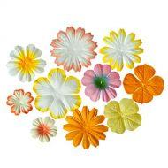 Набор цветочков из шелковичной бумаги Светло желтые и кремовые