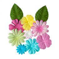 Набор цветочков с листочками ПАСТЕЛЬНЫЕ