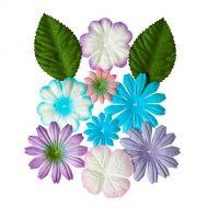 Набор цветочков с листочками НЕЖНЫЕ