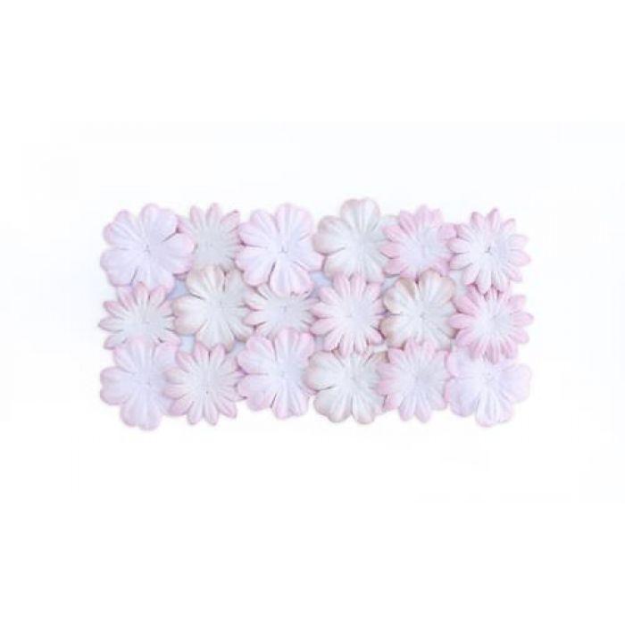 Набор цветков из шелковичной бумаги Белый с розовым для скрапбукинга