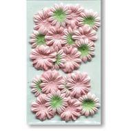Набор цветков из шелковичной бумаги Персиковый с зеленым