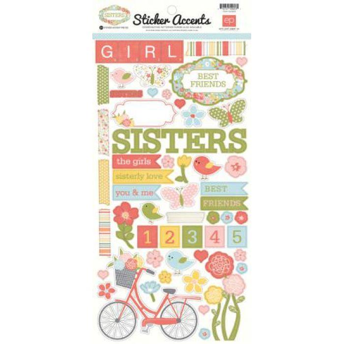 Наклейки, коллекция Sisters для скрапбукинга