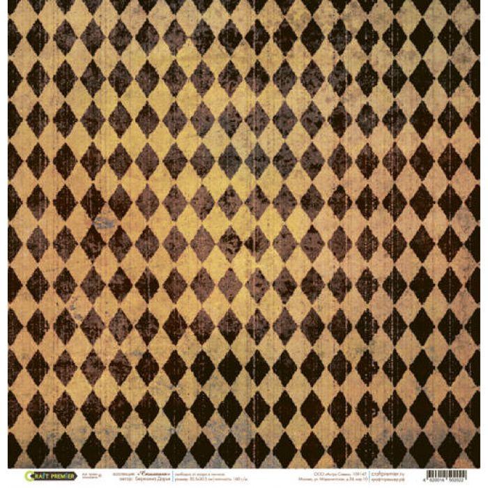 Бумага Ромбы мини, коллекция Стимпанк для скрапбукинга