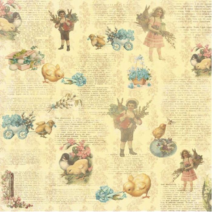 Бумага Незабудка, коллекция Весенний Праздник для скрапбукинга