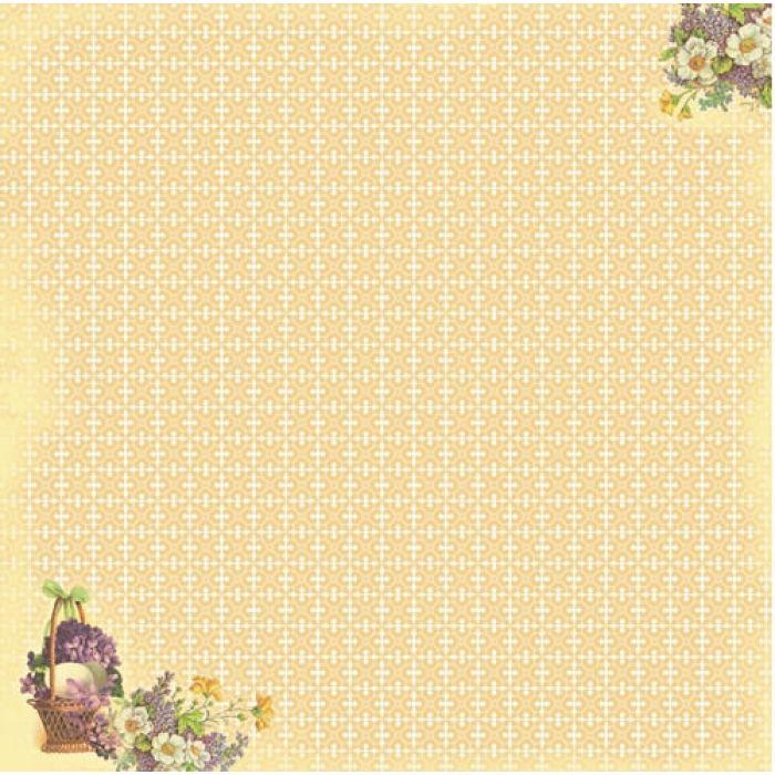 Бумага Корзина с цветами, коллекция Весенний Праздник для скрапбукинга